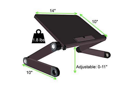 Uncaged Ergonomics WorkEZ LIGHT Ergonomic Portable Lightweight Folding Aluminum Laptop Cooling Stand & Lap Desk Tray for Bed Couch. Adjustable height angle tilt notebook computer macbook desktop riser table-top holder, black (WELb) Photo #4