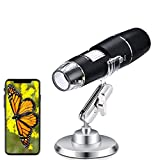 USB Mikroskope, WiFi Digital Mikroskop, Mini Kamera 50 bis 1000x Vergrößerung Endoskop 8 LED Taschen-Handmikroskopkamera mit Metallständer Kompatibel mit iPhone, iPad, Android-Telefon, Windows, Mac