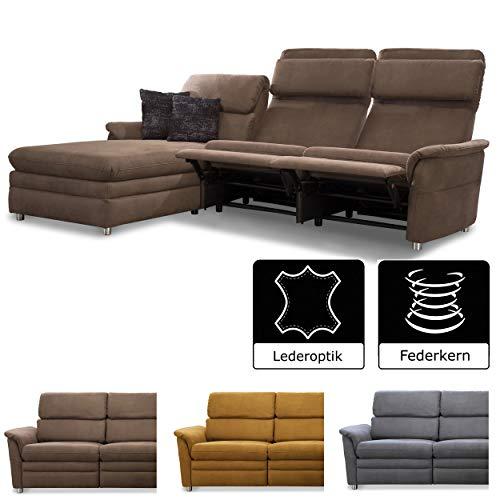 Cavadore Chalsay Sofaecke mit Longchair links inkl. Relaxfunktion und verstellbarem Kopfteil / mit Federkern / Eckcouch im modernen Design / Größe: 252 x 94 x 177 cm (BxHxT) / Farbe: Braun (chocco)