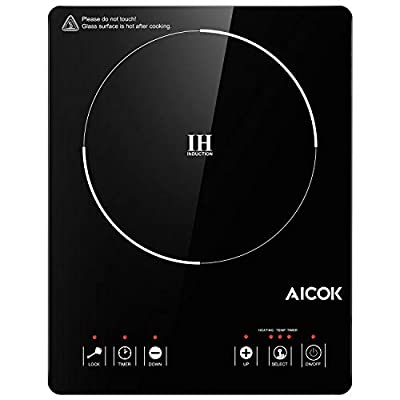 Aicok Portable Induction Cooktop 15 Temperature Power Setting, Waterproof, Hot Plate with LCD Sensor Touch, with Safety Lock, Timer