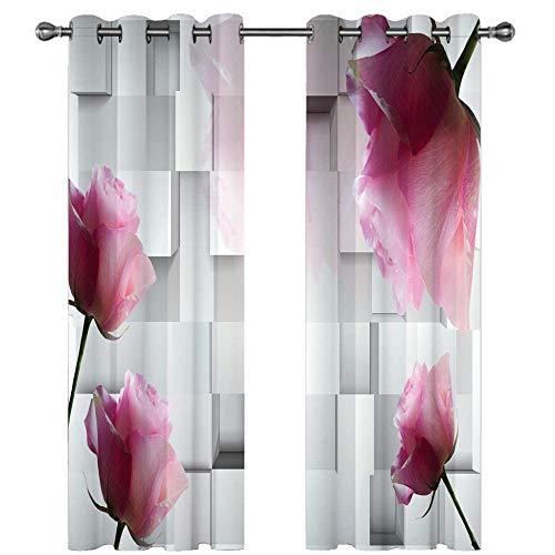 IVIHGK Cortinas Opacas Aislantes Termicas Salon Dormitorio Oficina Flores Rosas geométricas con Ojales Reducir El Ruido Cortinas,Impresas 3D Poliéster Cortinas 280x260CM(ANxAL) 2 Panel