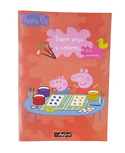 Peppa Pig Cuaderno Para Colorear 40 Dibujos Y Pegar 40 pegatinas Diviértete con Peppa y su Familia. Libro Pega y Colorea Con Pegatinas