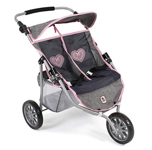 Bayer Chic 2000 697 26 Jogger, Zwillings-Puppenwagen für Baby-Puppen bis 50 cm, grau-Navy