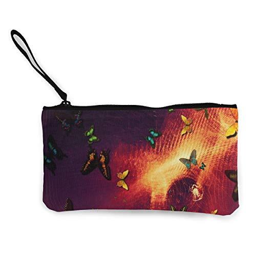 Wrution Schmetterlinge Abstraktion Kunst Photoshop-Leinwand Geldbörse Tasche Reißverschluss kleine Geldbörse weiblich tragbar große Kapazität personalisiert