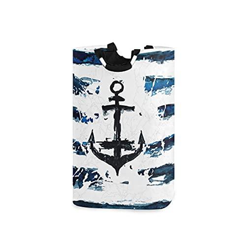 Hunihuni - Cesta de lavandería plegable para ropa sucia, diseño de ancla náutica, para baño, dormitorio, lavandería