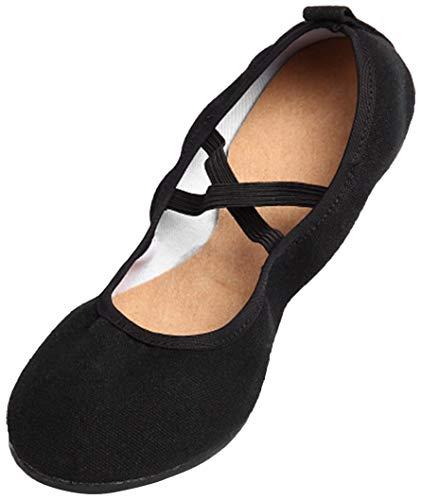 DorkasDE Damen Gymnastikschuhe Mädchen Tanzschuhe Kunstturnschuhe Ballett Schuhe Oxford Sohle Canvas Obermaterial