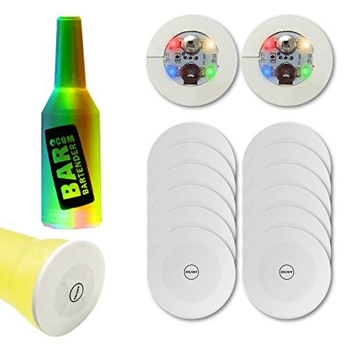 10 posavasos con barra LED, pegatinas LED, posavasos con luz para bebidas, portavasos, luces para botella de vino líquido, perfecto para fiestas, bodas, bar