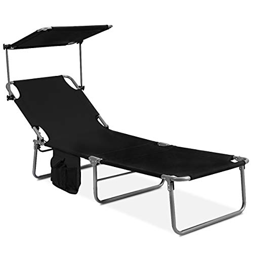 GYMAX Folding Chaise Longue
