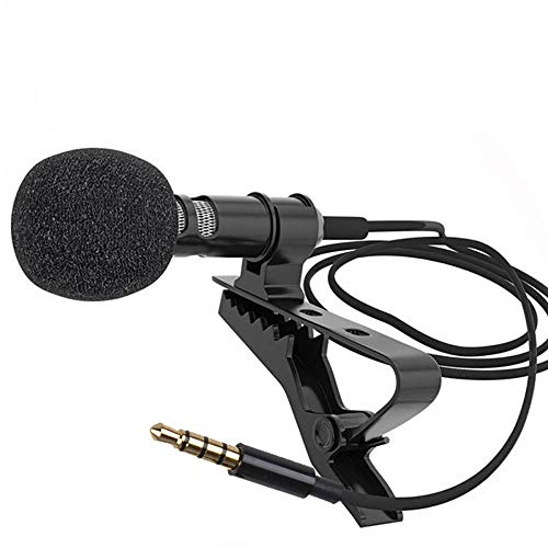 Andoer Mini micrófono de Solapa, Micrófono de Condensador con Conector de 3.5 mm Compatible con iPhone iPad Android Smartphone Cámara DSLR PC Portátil