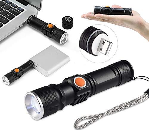 Mini linterna recargable USB LED Cree XM-L T6 batería Li-Ion 18650 Zoom lente