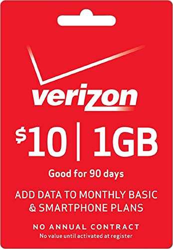 Verizon Prepaid - $10 Wireless Minutes Prepaid Top-Up Data Add-On PIN Card Cod (Mail Delivery)