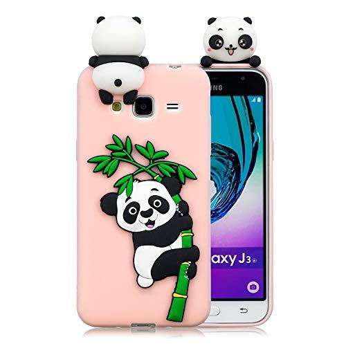 Funda para Galaxy J3 (2016) / Samsung J320, 3D Panda Patrón Ultra Delgado TPU Cover Silicona Carcasa Gel Anti-Rasguño Protectora Bumper para Samsung Galaxy J3 (2016) / Samsung Galaxy J320, Rosa