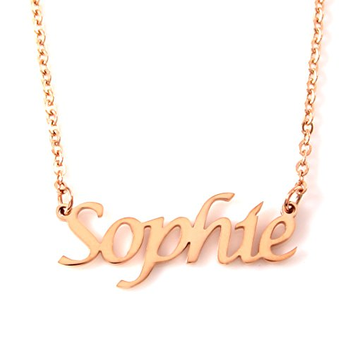 Kigu Sophie Personalized Name - 18ct Rose Gold Plated Necklace - Adjustable Chain 16' - 19' Packaging