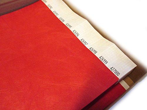 Twist4 50x / 100x / 250x / 500x /1000x Tyvek Einlassbänder Kontrollbänder in bunten Farben: Eintrittsbänder Partybänder Partybändchen Einlassbänder Securebänder aus Tyvek (500 Stück, Rot)