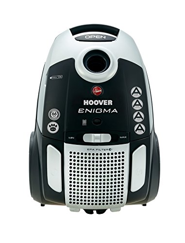Hoover Enigma Pets Bagged Cylinder Vacuum Cleaner, TE70EN21, Hygienic, Allergy, Powerful, Tools Onboard - Black/Grey