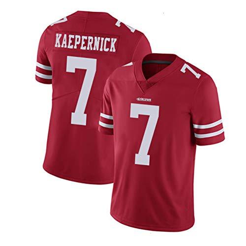 San Francisco 49ers Colin Kaepernick # 7 Herren Rugby Trikot, Sporthemden USA Rugby Trikot 100% Baumwolle, Atmungsaktives Kurzarm Rugby Supporter T-Shirt-red-XL