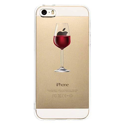 Caler  Funda Reemplazo para iPhone SE 5S 5 Funda, Suave TPU Gel Silicona Ultra-Delgado Ligera Anti-rasguños Protección Patrones Populares Carcasa (Copa de Vino Tinto)