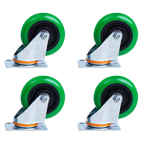 HFREOI 3-inch Universal Wheels, Heavy Casters, Mounting Plate MJ-887 with 4 Holes Positioning, with Brake Function,
