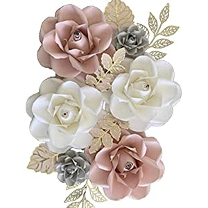 BUBBAPAINT. 3D Paper Flower Decorations for Wall. Backdrop for Décor. Giant Size Pre-Assembled Flower. Girl nursery Wall Decor. Party Decor Wedding, Bridal Shower, Rooms. Pink, Withe, Grey and Gold