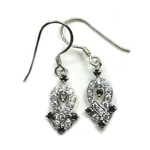 Jewelryonclick - Pendientes de plata de ley envejecida con circonitas cúbicas para mujer