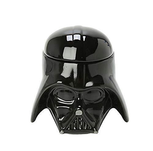 HLXXX 2 Unidades/Set De Star Wars Cerámica 3D Guerrero Negro Soldado Blanco Copa Darth Vader Stormtrooper Casco Taza Taza Creativa,Black Warrior-OneSize