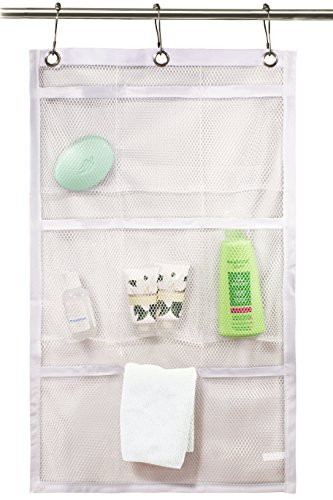 Shower Curtain Bathroom Organizer -9 Pockets- Perfect for Organizing Your Home Bath. Organize Your Toiletries and kid's Toys in Nine Durable Deep Mesh Pockets. Hang on Existing Shower Curtain Rings.