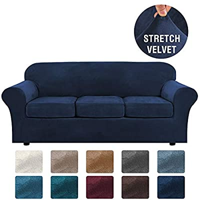 H.VERSAILTEX Modern Velvet Plush 4 Piece High Stretch Sofa Slipcover Strap Sofa Cover Furniture Protector Form Fit Luxury Thick Velvet Sofa Cover for 3 Cushion Couch, Machine Washable(Sofa,Navy)