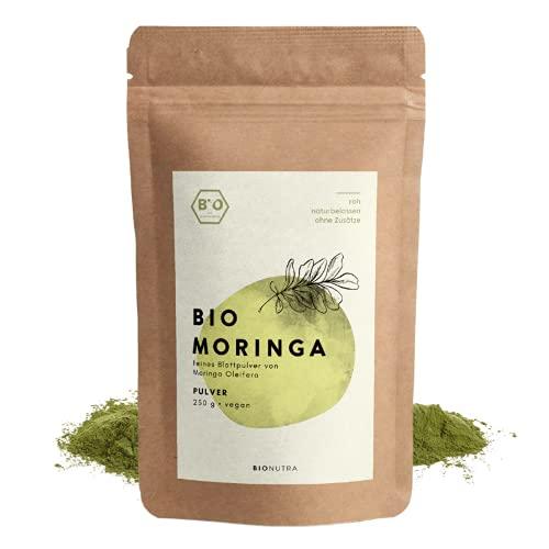 BIONUTRA® Moringa bio   en poudre   250 g   Agriculture biologique   Feuilles de Moringa oleifera en poudre   Sans additifs   Emballage opaque et refermable
