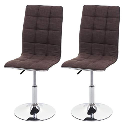 Mendler Set 2X sedie HWC-C41 Design Moderno Tessuto Sala Pranzo Marrone