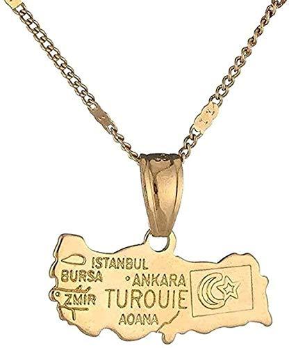 Collar Regalos Collar con Colgante De Mapa De Turquía Bandera Turca Color Dorado Joyería Turkiye Cumhuriyeti para Mujeres Y Hombres Regalos