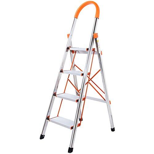 Trittleiter 4 Stufen klappbar Mit Gummihandgriff, Alu Sicherheits Stehleiter, Tragbare Faltet Anti-Slip Haushaltsleiter, Belastbar bis 150 kg