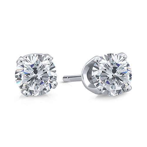 Gem Stone King 14K White Gold Lab Grown Diamond Stud Earrings For women (0.20 Cttw, Round G-H Color, VS2-SI1 Clarity)