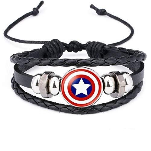 Braccialetto Logo Distintivo Supereroi in Pelle e Vetro Unisex (Captain America)