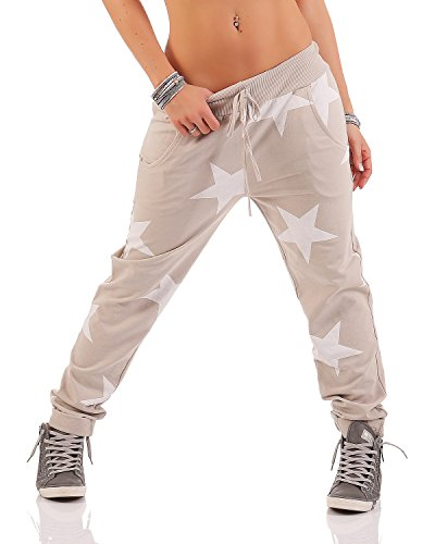 Zarmexx Damen Sweatpants Baggy Hose Boyfriendhose Freizeithose Jogginghose Fitness Sporthose Yogapants Jogger Loose Fit Big Star One Size