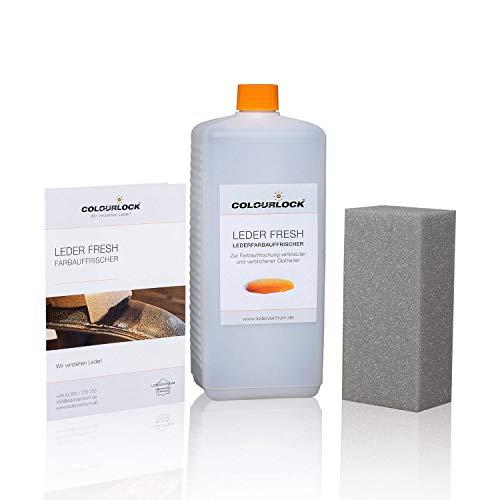 COLOURLOCK® Leder Fresh Tint (leerkleur, opfrissen van de kleur) 1000 ml geschikt voor luxe verwijdert vlekken, verkleuringen en slijtage van leer en kunstleer Bank zwart A06
