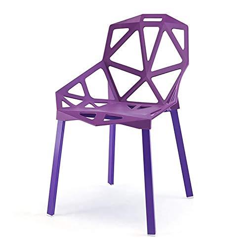 BaiJaC Silla De Comedor De Moda para Adultos, Silla De Plástico Hueca, Silla Creativa Geométrica del Soporte De Metal, Recepción Sillón De La Recepción 4pcs (Color : Purple)