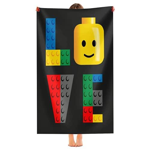 yiliusu -LOVE - Toalla de playa de microfibra Lego-secado rápido, súper absorbente, fina toalla manta de 52 pulgadas x 33 pulgadas