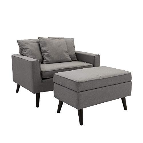 Modern Velvet Chair with Ottoman