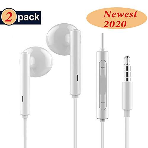 RURUI [2 Pack] Auriculares con Cable y Microfono Auriculares In-Ear Auriculares Movil Sonido Estéreo Auriculares Enchufe Micrófono Compatible con Teléfonos Celulares Jack 3.5mm- Blanco