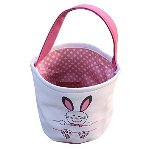 Easter Basket Bags Rabbit Canvas Cotton Candy Bag Holiday Rabbit Bunny Printed Canvas Basket Kids To Carry At Easter Gift Carry Candy Bag Carry Candy Bag Home & Garden Housekeeping & Organizers