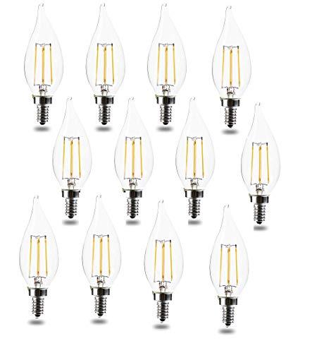 Bombillas LED equivalentes a 60 W, casquillo E12, intensidad regulable, 2700 K, luz blanca cálida, 4,5 W, 450 lm, con punta de llama, estilo vintage, filamento LED, certificación UL