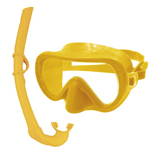 MONKEY FOREST Swimming Goggles with Nose Cover No Leak Adjustable Snorkel Gear, Anti-Fog Swim Mask Free Breathing Snorkeling Goggles Kids with 180° Panoramic View for Boys and Girls(Yellow