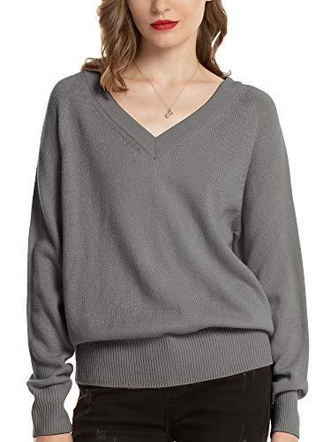 Woolen Bloom Maglione Donna Felpa Elegante Pullover Scollo V Sweatshirt Manica Lunga Autunno Inverno