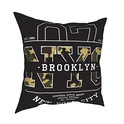 LUCKCHN Funda de cojín de camuflaje con diseño de camiseta de Nueva York de Nueva York para sofá, funda de almohada decorativa de regalo de 45,7 x 45,7 cm