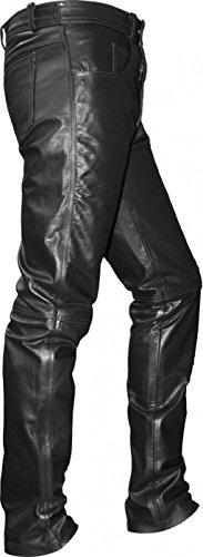 German Wear Lederhose lederjeans bikerjeans jeans hose aus Büffelleder Schwarz, Größe:48