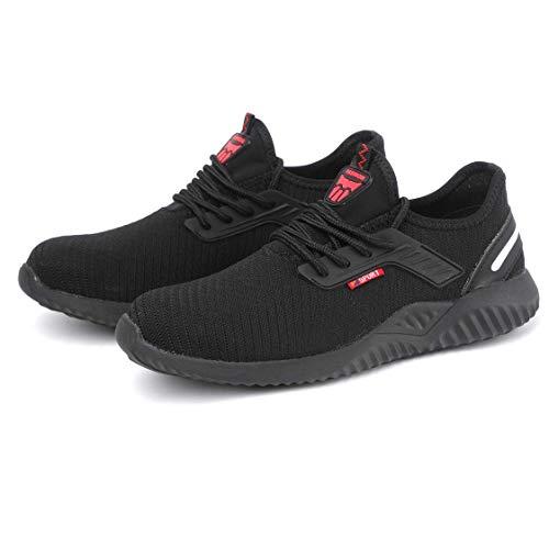 FJUAN Zapatos de Seguridad S1P Hombres Mujeres Zapatos Funcionan de Forma Ligeramente Zapatos Transpirables de Seguridad con Casquillos de Acero,43