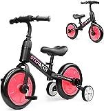 Yealeo 4 in 1 Bicicletta per Bambini, Bicicletta Equilibrio Adatto per 2, 3, 4 e 5 Anni con Rimovibili Ruote di Sostegno e Pedali, Facile Assemblaggio, Rosso