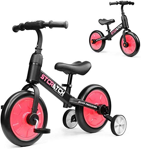 YEALEO 4 in 1 Balance Bike for 2 3 4 5 Years Kids Boy Girl, Toddler Trike with Auxiliary Wheels & Detachable Pedals, Easy Assembly, Red