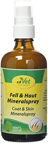 cdVet Naturprodukte Fell & Haut Mineralspray 100 ml - Hund, Pferd - Pflegemittel - Parasitenbefall - pflegt + beruhigt die Haut - Schuppen + trockene Hautpartien + glanzlosem Fell - Reinigung -
