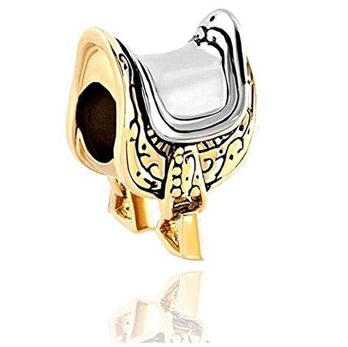 Eisen-YD-Schmuck Hufeisen Reitsport Sattel Lover Lucky Perlen Europäische Charm-Armband Stück 2pc